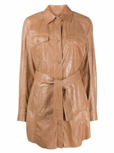 Drome belted leather shirt-coat - NEUTRALS