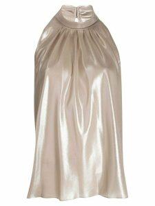 Diane von Furstenberg Dove foil chiffon top - NEUTRALS