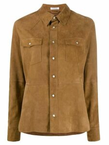 P.A.R.O.S.H. suede chest pocket shirt - Brown