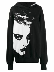 House of Holland oversized face print hoodie - Black