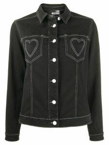 Love Moschino heart embroidered denim jacket - Black