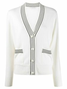 Sandro Paris stripe trim long sleeve cardigan - NEUTRALS