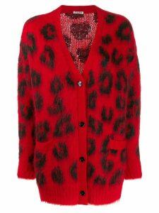 Miu Miu jacquard leopard pattern cardigan - Red