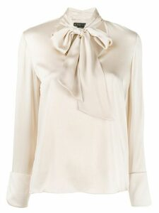 Alice+Olivia satin tied blouse - NEUTRALS