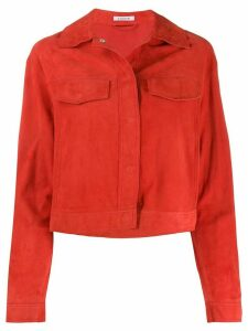 P.A.R.O.S.H. cropped fringed sleeve jacket - Red