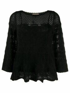 Twin-Set scalloped lace detail top - Black