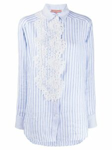 Ermanno Scervino lace applique striped shirt - Blue