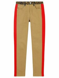 Burberry leopard print detail skinny-fit jeans - NEUTRALS
