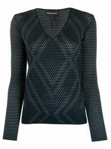 Emporio Armani open-knit argyle top - Blue
