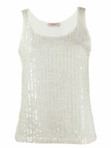 Twin-Set sequinned tank top - White