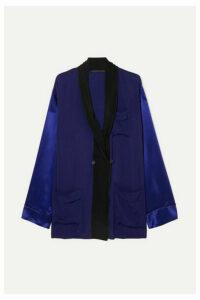 Haider Ackermann - Two-tone Crepe And Silk-satin Shirt - Blue