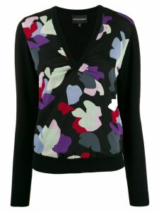 Emporio Armani abstract print knit jumper - Black
