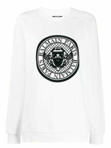 Balmain logo print crew neck sweatshirt - White