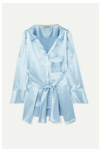 Hellessy - Clark Belted Silk-satin Shirt - Light blue