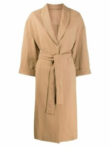 Brunello Cucinelli long-length belted coat - NEUTRALS