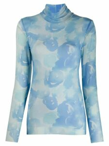 GANNI printed mesh roll-neck top - Blue