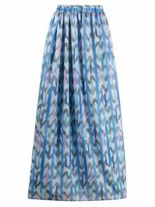 Emporio Armani geometric print maxi skirt - Blue