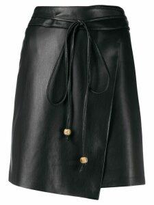 Nanushka Sekoya vegan leather wrap skirt - Black