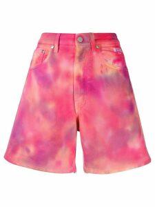 MSGM tie-dye denim shorts - PINK