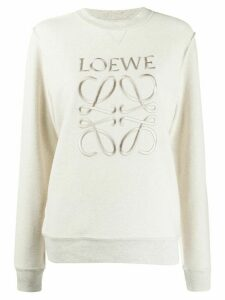 Loewe embroidered anagram crew neck sweatshirt - NEUTRALS