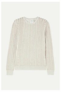 Hervé Léger - Striped Metallic Knitted Sweater - Silver