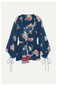 Talitha - Floral-print Silk Crepe De Chine Wrap Top - Navy