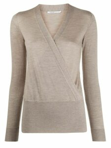 Agnona long sleeve wrap front top - NEUTRALS