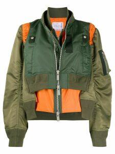 Sacai layered style colour block bomber jacket - Green