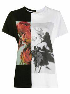 Alexander McQueen two-tone rose print T-shirt - Black