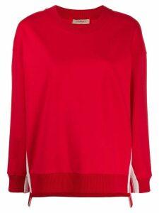 Twin-Set oversized logo stripe sweatshirt - Red
