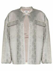 Maisie Wilen oversized snake-print leather jacket - Grey