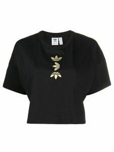 adidas cropped logo print T-shirt - Black