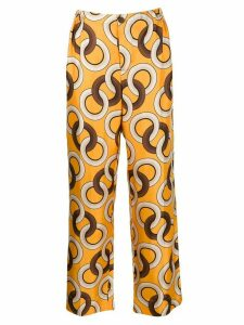 F.R.S For Restless Sleepers silk geometric-print trousers - Yellow