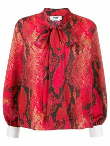 MSGM snake-print blouse - Red