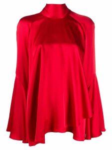 Alberta Ferretti asymmetric pussybow blouse - Red