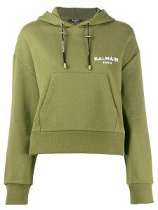 Balmain cropped logo hoodie - Green