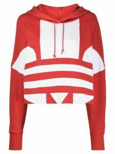 adidas cropped logo print hoodie - Red