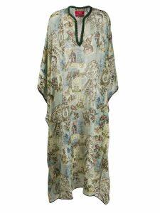 F.R.S For Restless Sleepers chiffon geometric kaftan dress - Blue
