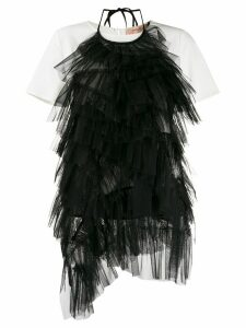 Twin-Set Flounce layered feather T-shirt - Black