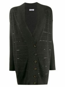 Brunello Cucinelli striped embellished cardigan - Black