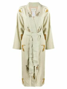Etro animal embroidered overcoat - NEUTRALS