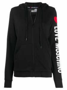 Love Moschino side logo print drawstring hoodie - Black