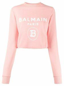 Balmain logo-print cropped sweatshirt - PINK