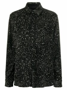 Saint Laurent glitter-fleck velvet shirt - Black