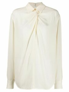 Victoria Beckham twist neck silk blouse - White
