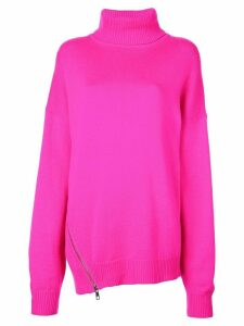 Tibi zip detail turtleneck jumper - PINK