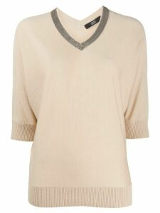 Steffen Schraut contrast v-neck knit top - NEUTRALS