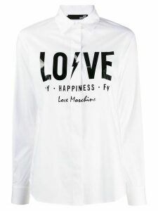 Love Moschino slogan print classic collar shirt - White