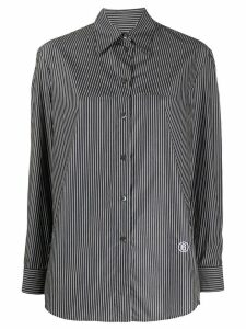 Mm6 Maison Margiela stitch detail striped shirt - Black