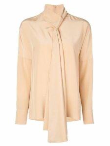 Tibi tie neck blouse - NEUTRALS